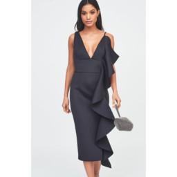 Lavish Alice Asymmetric Draped Frill Midi Dress in Scuba - Black