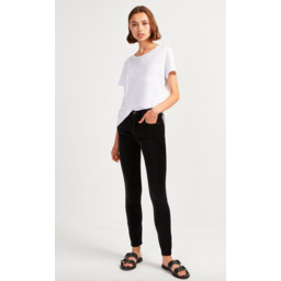 French Connection Ryha Velvet High Rise Skinny Jeans - Black