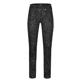 Robell Trousers Rose Animal Paisley Full Length - Navy
