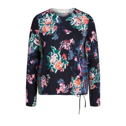 Oui Floral Print Drawstring Jumper - Navy Mix