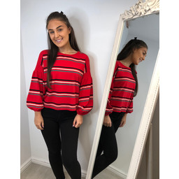 Lucy Cobb Aikha Striped Jumper  in Red