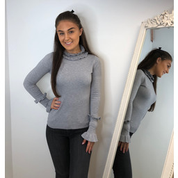 Lucy Cobb Francesca Frill Jumper in Grey