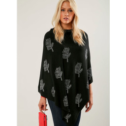 Lucy Cobb Sparkle Tree Poncho in Black