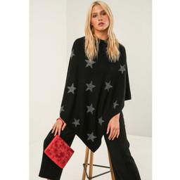 Lucy Cobb Sparkle Star Poncho in Black