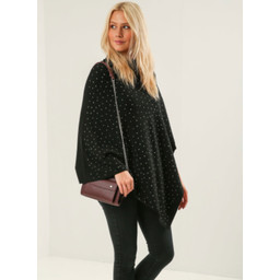 Lucy Cobb Sparkle Stud Poncho in Black