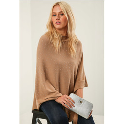 Lucy Cobb Sparkle Stud Poncho - Camel