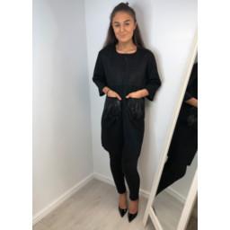 Lucy Cobb Nia Fur Pocket Coatigan in Black