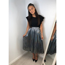 Marina Metallic Pleated Skirt - Silver