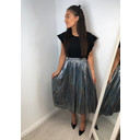 Marina Metallic Pleated Skirt - Silver - Alternative 1