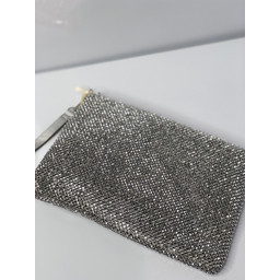Malissa J Diamante Clutch with Strap - Silver