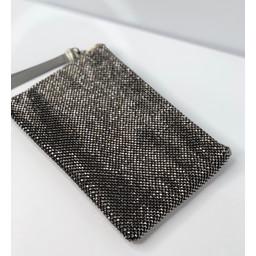 Malissa J Diamante Clutch with Strap - Gunmetal