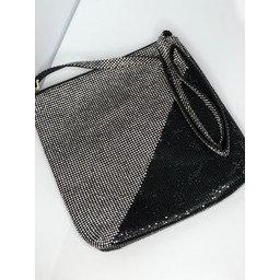 Malissa J Two Tone Crystal Bag - Black Silver
