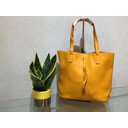 Leather Look Tote  - Mustard