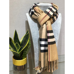 Lucy Cobb Check Scarf in Beige