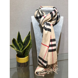 Lucy Cobb Check Scarf in Stone