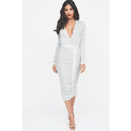Lavish Alice Sequin Midi Dress in Silver
