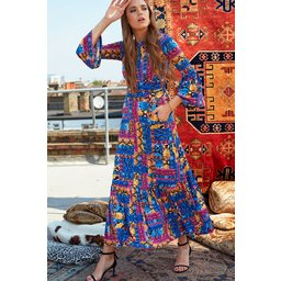 Onjenu Yana 3/4 Sleeve Maxi Dress - Majorelle