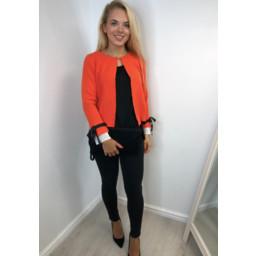 Lucy Cobb Chanelle Frill Sleeve Cardigan - Orange
