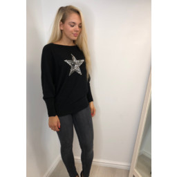Lucy Cobb Saffron Sequin Star Jumper in Black