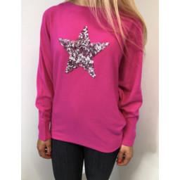 Lucy Cobb Saffron Sequin Star Jumper - Fuchsia