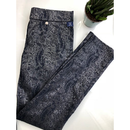 Robell Trousers Rose Snake Metallic Print - Navy