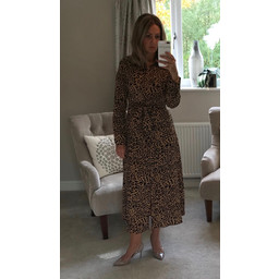 Lucy Cobb Teegan Print Maxi Shirt Dress - Camel