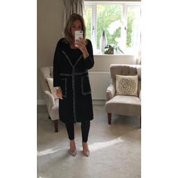 Malissa J Chrissy Frayed Trim Coatigan in Black