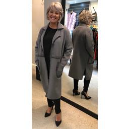 Malissa J Chrissy Frayed Trim Coatigan in Grey