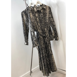 Lucy Cobb Arianna Animal Print Shirt Dress - Snake Print