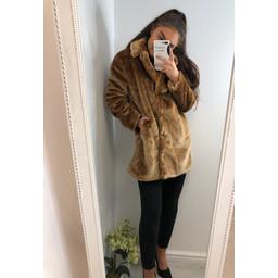 Lucy Cobb Tilly Fur Coat in Sahara