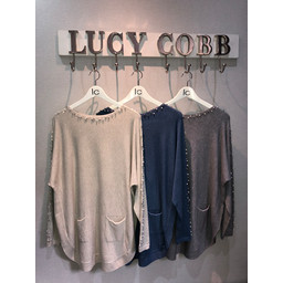 Lucy Cobb Teri Two Pocket Pearl Jumper - Grey