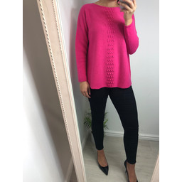 Lucy Cobb Georgie Bobble Panel Jumper - Fuchsia