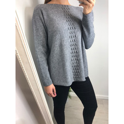 Lucy Cobb Georgie Bobble Panel Jumper in Grey