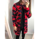 Vanity Zip Cardigan  - Red Leopard Print