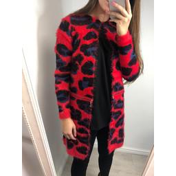 Lucy Cobb Vanity Zip Cardigan  - Red Leopard Print