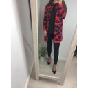Vanity Zip Cardigan  - Red Leopard Print - Alternative 2
