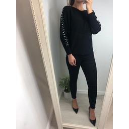 Lucy Cobb Petra Pearl Sleeve Jumper - Black