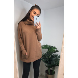 Lucy Cobb Katia Roll Neck Two Pocket Jumper in Camel