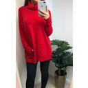 Katia Cowl Neck Two Pocket Jumper - Red