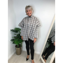 Alice Collins Holly Wrap  in Brown Check