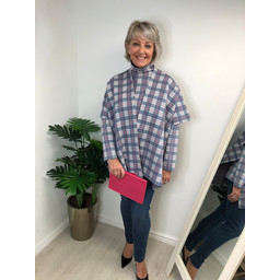 Alice Collins Holly Wrap  in Denim Check