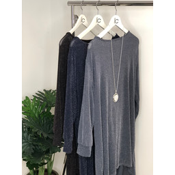 Lucy Cobb Sada Oversized Sparkle Tunic in Navy