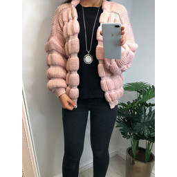 Lucy Cobb Casey Chunky Knit Cardigan in Blush Pink