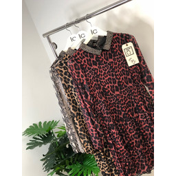 Lucy Cobb Zara Beaded Collar Tunic in Red Leopard Print