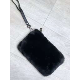 Lucy Cobb Black Strap Faux Fur Clutch  - Black