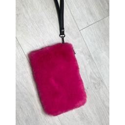 Lucy Cobb Black Strap Faux Fur Clutch  - Fuchsia