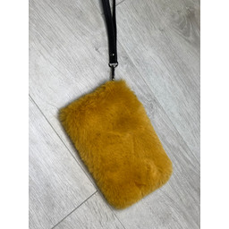 Lucy Cobb Black Strap Faux Fur Clutch  - Mustard