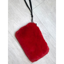 Lucy Cobb Black Strap Faux Fur Clutch  - Red