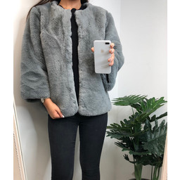 Lucy Cobb Pheobe Faux Fur Jacket - Grey