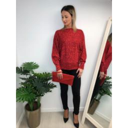 Lucy Cobb Aida Leopard Print jumper in Red